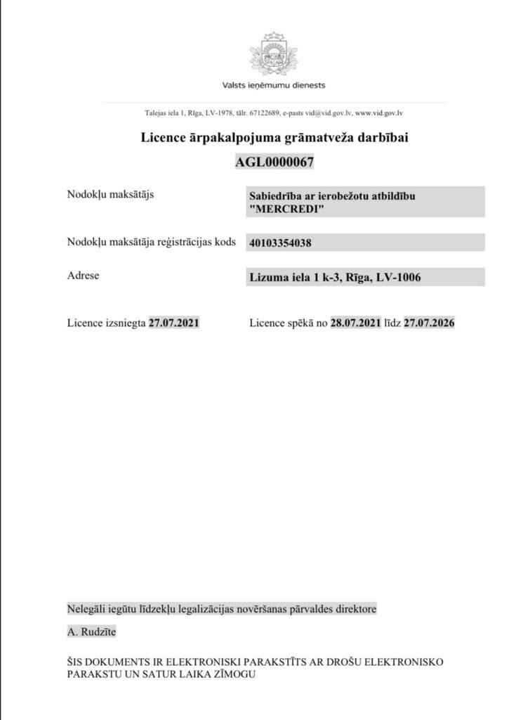Licence ārpakalpojumu grāmatveža darbībai